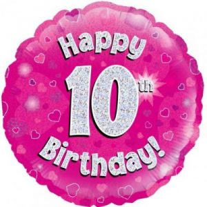 We Like To Party Happy 10th Birthday Pink Holographic 18″ (45cm) Foil Balloon