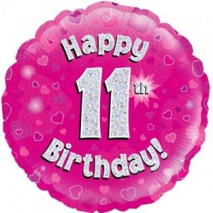 We Like To Party Happy 11th Birthday Pink Holographic 18″ (45cm) Foil Balloon