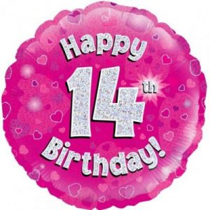 We Like To Party Happy 14th Birthday Pink Holographic 18″ (45cm) Foil Balloon