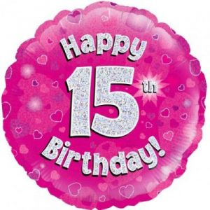 We Like To Party Happy 15th Birthday Pink Holographic 18″ (45cm) Foil Balloon