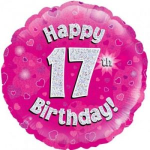 We Like To Party Happy 17th Birthday Pink Holographic 18″ (45cm) Foil Balloon