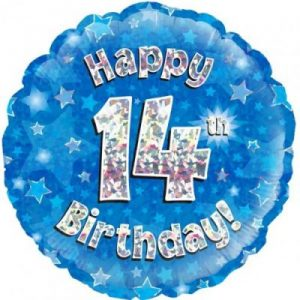 We Like To Party Happy 14th Birthday Blue Holographic 18″ (45cm) Foil Balloon