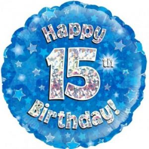 We Like To Party Happy 15th Birthday Blue Holographic 18″ (45cm) Foil Balloon
