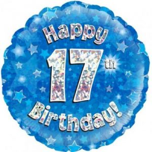 We Like To Party Happy 17th Birthday Blue Holographic 18″ (45cm) Foil Balloon