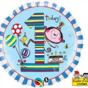 We Like To Party Age 1 Monkey Stripes 18″ (45cm) Foil Balloon