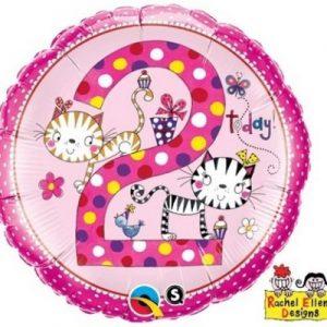 We Like To Party Rachel Ellen Age 2 Kittens Birthday 18″ (45cm) Foil Balloon