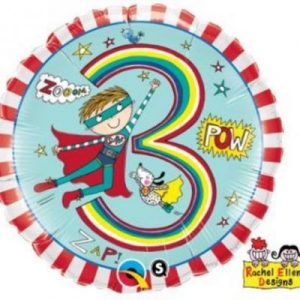 We Like To Party Rachel Ellen Age 3 Super Hero Stripes 18″ (45cm) Foil Balloon