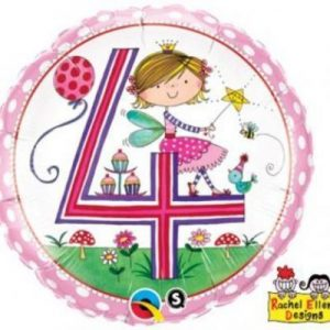 We Like To Party Rachel Ellen Age 4 Fairy Polka Dots 18″ (45cm) Foil Balloon
