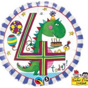 We Like To Party Age 4 Dinosaur Stripes 18″ (45cm) Foil Balloon