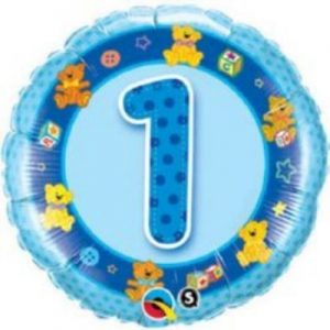 We Like To Party Age 1 Blue Teddies 18″ (45cm) Foil Balloon