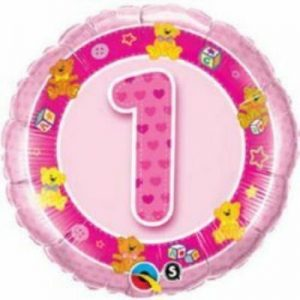 We Like To Party Age 1 Pink Teddies 18″ (45cm) Foil Balloon