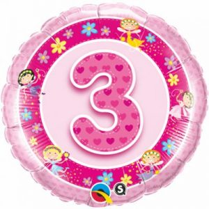 We Like To Party Age 3 Pink Fairies 18″ (45cm) Foil Balloon