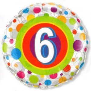 We Like To Party Age 6 Colourful Dots 18″ (45cm) Foil Balloon