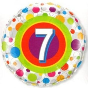 We Like To Party Age 7 Colourful Dots 18″ (45cm) Foil Balloon