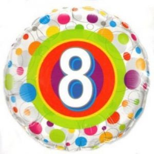 We Like To Party Age 8 Colourful Dots 18″ (45cm) Foil Balloon
