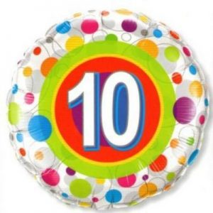 We Like To Party Age 10 Colourful Dots 18″ (45cm) Foil Balloon