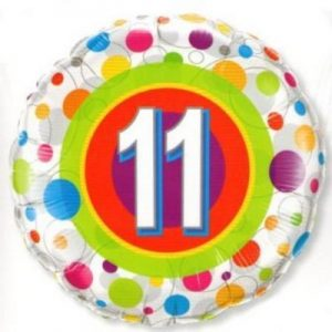 We Like To Party Age 11 Colourful Dots 18″ (45cm) Foil Balloon