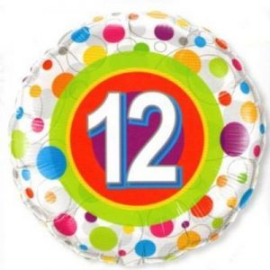 We Like To Party Age 12 Colourful Dots 18″ (45cm) Foil Balloon