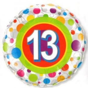 We Like To Party Age 13 Colourful Dots 18″ (45cm) Foil Balloon