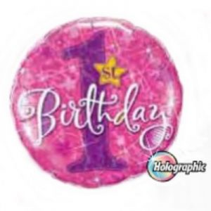 We Like To Party 1st Birthday Stars Pink Holographic 18″ (45cm) Foil Balloon