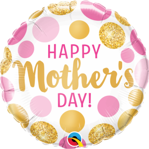 """We Like To Party Mother's Day Pink & Gold Dots 18"""" Foil Balloon"""