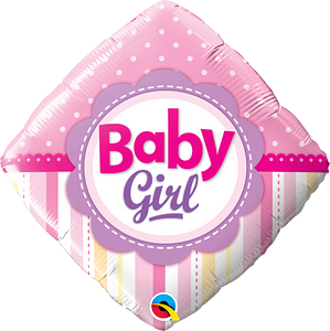 We Like To Party Baby Girl Dots & Stripes 18″ (45cm) Foil Balloon