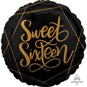 We Like To Party Elegant Sixteen Black & Gold 18″ (45cm) Foil Balloon