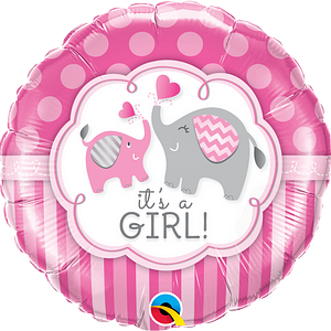 We Like To Party It's A Girl Elephants 18″ (45cm) Foil Balloon