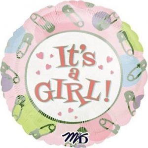 We Like To Party It's A Girl Dots & Pins 18″ (45cm) Foil Balloon