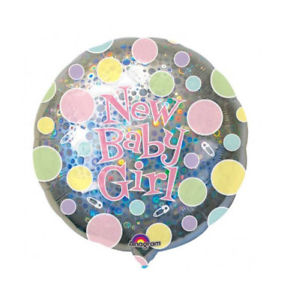 We Like To Party New Baby Girl Holographic 18″ (45cm) Foil Balloon