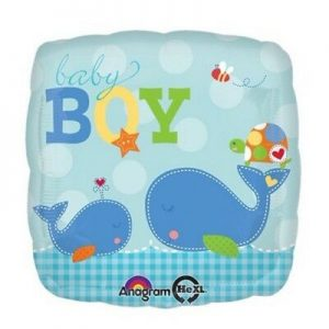 We Like To Party Ahoy Baby Boy Whale 18″ (45cm) Foil Balloon