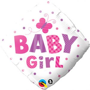 We Like To Party Baby Girl Dots & Butterflies 18″ (45cm) Foil Balloon
